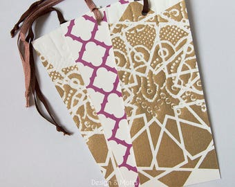 Gold & Pink Pattern Bookmarks