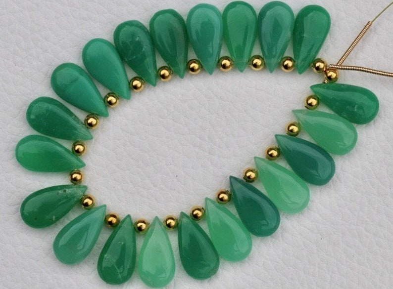 Awesome Quality rare 20 pieces smooth pear chrysoprase briolette beads 9 x 18 mm approx..Superb Item at Low Price Best quality cherolite