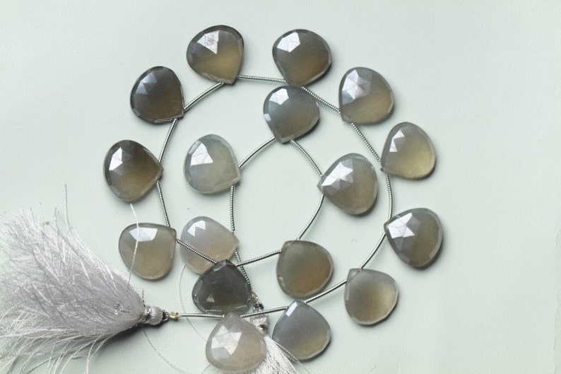17 piece of faceted Heart shape coated mystic Light Gray CHALCEDONY briolette beads 17 mm Approx