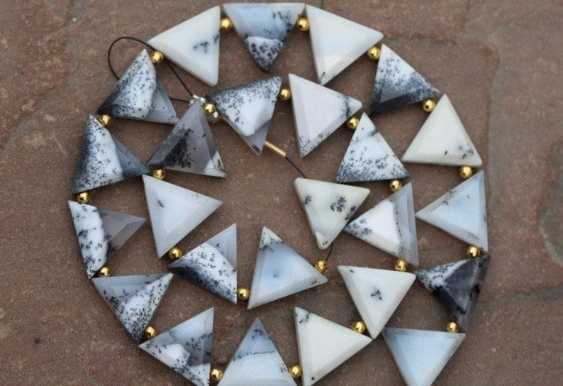 12 x 14 mm approx...wholesale price custom orders at low price drilled 20 piece faceted DENDRITE OPAL triangle briolette beads 11 x 13