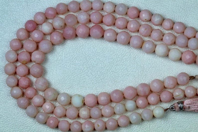 faceted sphere ball 10 inch long strand faceted PINK OPAL round sphere beads 6--7 mm beads light pink Nice natural pink opal wholesale