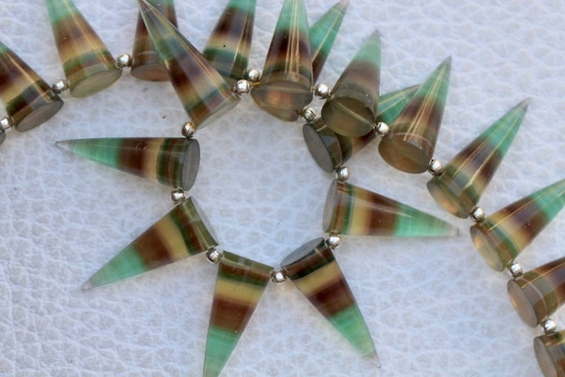 fluorite fancy gemstone 7 x 20 mm approx...natural fluorite gems 19 piece faceted Fancy FLUORITE cone gemstone beads 7 x 14 unique