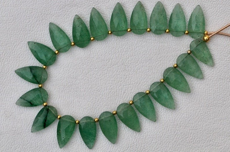 Green Strawberry quartz faceted long pears
