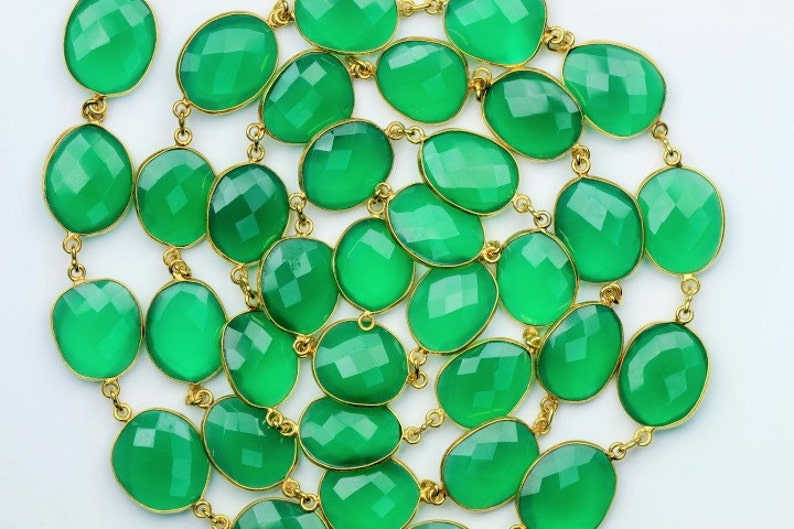 16 X 18 mm Approx Very Good quality 9 inch long strand connector chain gold plated GREEN ONYX 14 X 15