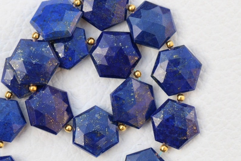 low price drilled beads 20 piece faceted Lapis hexagonal beads 13 x 14 rare gems 14 x 15 mm approx...wholesale price custom orders