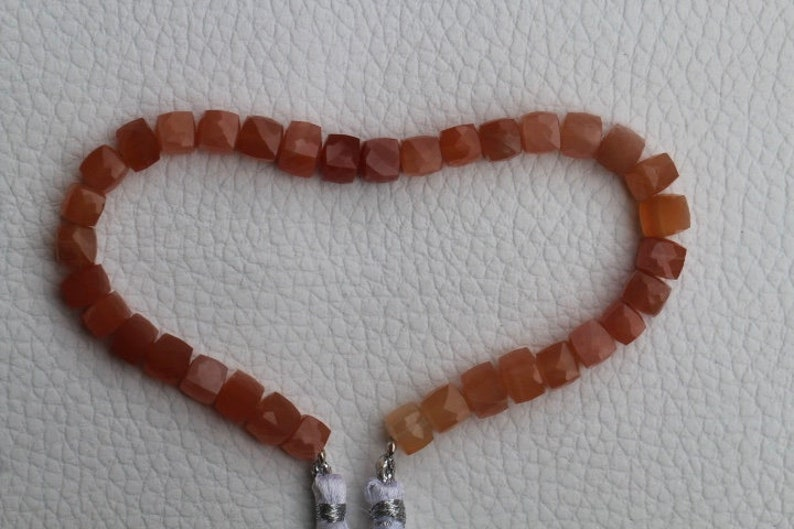 natural moonstone 8 inch long strand of FACETED cube shape PEACH MOONSTONE gemstone bead size 5 X 6 6 X 6  mm peach moonstone
