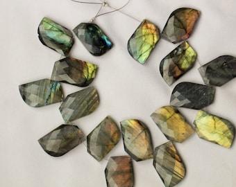 17 piece faceted Labradorite Fancy beads , 5 x 12 x 20 -- 5 x 13 x 21 mm
