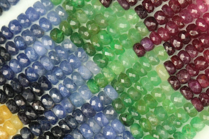 3 x 4 mm approx Yellow Sapphire Best quality MULTI PRECIOUS STONE 13 Inch long strands Emerald,Ruby Blue Sapphire 2 x 4