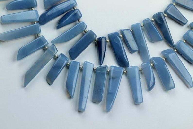 10 inch long strand smooth BLUE OPAL sticky beads 4.5 x 6.5 x 17--6 x 7 x 32 mm