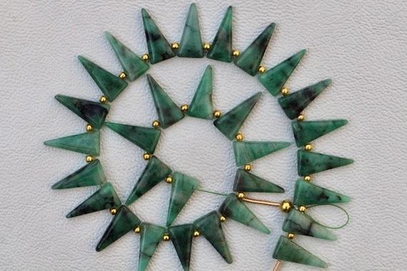 qualité impressionnante 28 pièces lisses percé fantaisies perles d'émeraude 7 x 16 mm env.... prix de gros, les commandes personnalisées, n AA ++, mystique rare, mystique