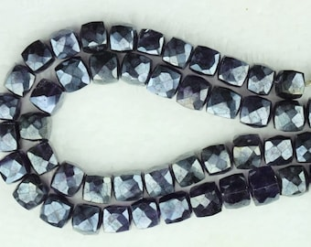 8 inch long strand faceted AMETHYST cube beads 7 -- 8 mm approx