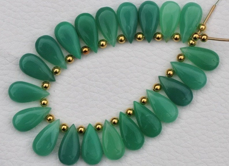 rare Awesome Quality Best quality cherolite 20 pieces smooth pear chrysoprase briolette beads 9 x 18 mm approx..Superb Item at Low Price