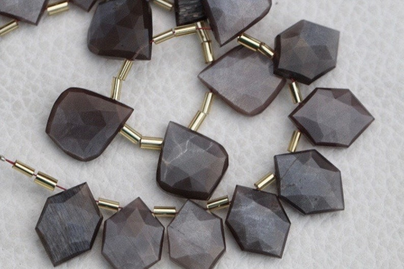mystic drilled AA+ 18 pieces faceted fancy drilled COFFEE MOONSTONE briolette beads leaf and hexagonal...wholesale price custom orders