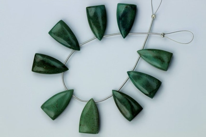9 pieces smooth CHRYSOCOLLA  half marquise beads 12 x 21.30 12 x 22 mm