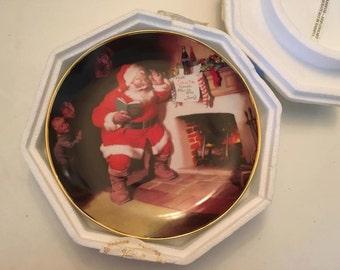 Vintage Franklin Mint Coca Cola Christmas Santa Claus Plate 1993