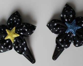 Flower hair clip black and grey stars