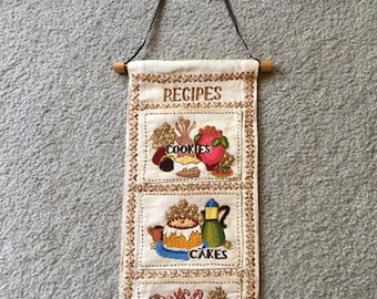 Fabric Embroidered Recipe Holder