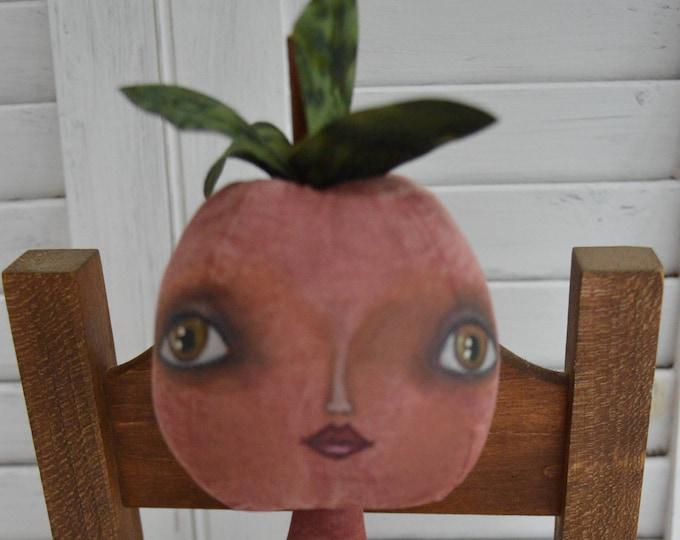 Primitive Folk Art Tomato Doll Pattern, Primitive Folk Art Doll, Primitive Tomato Doll, Primitive Doll, Primitive Home Decor, Veggie Doll