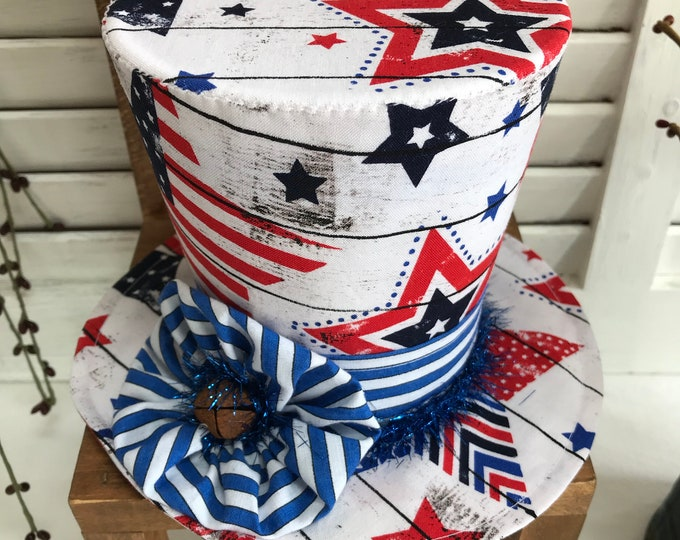 Uncle Sam Hat Tuck, Uncle Sam Bowl filler, Patriotic Decor, Americana Decor, Patriotic Shelf Sitter, Patriotic Holiday, Prim Uncle Sam Hat