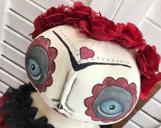 Primitive Day of the Dead Doll, Sugar Skull Doll, Primitive Doll, Folk Art Doll, Art Doll, Day of the Dead, Primitive Home Decor