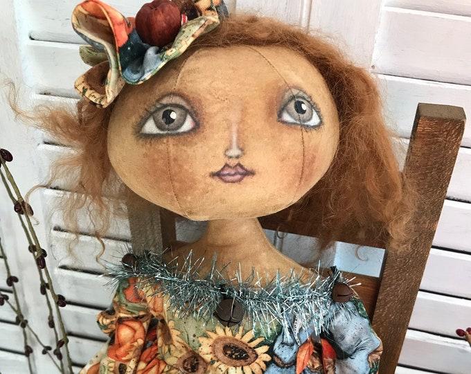 Primitive Folk Art Doll, Primitive Fall, Primitive Doll, Primitive Home Decor, Primitive Folk Art Fall Season Doll, Cloth Doll, Fall Decor