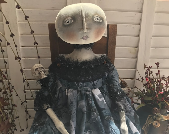 Primitive Witch Doll, Primitive Halloween, Halloween Ghost Witch, Primitive Folk Art Ghost, Halloween Decor, Primitive Decor, Art Doll