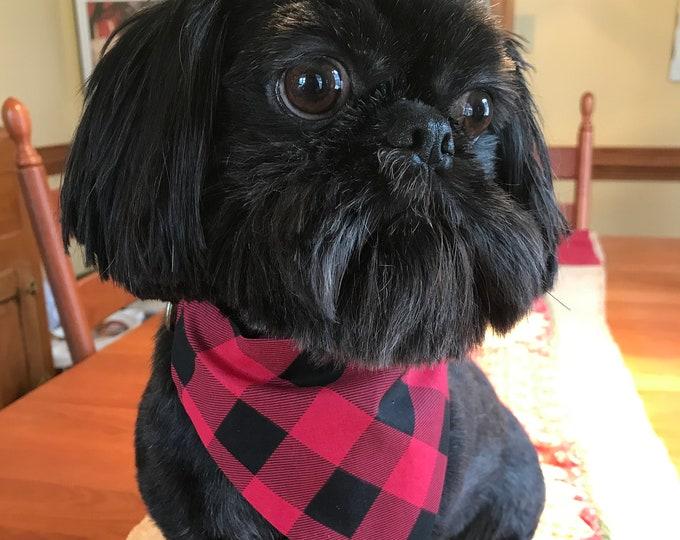 Slip on Collar Dog Bandana, Slide on Collar Bandana, Pet Accessory, Red Buffalo Check, Pet Accessories, Dog Bandana, Collar Bandana