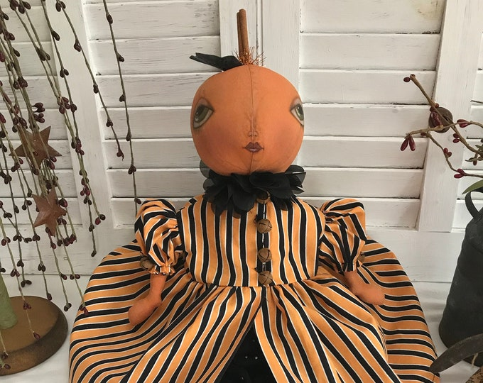 Primitive Pumpkin Doll, Primitive Folk Art Pumpkin Doll, Primitive Doll, Primitive Home Decor, Pumpkin Doll, Fall Decor, Halloween Doll