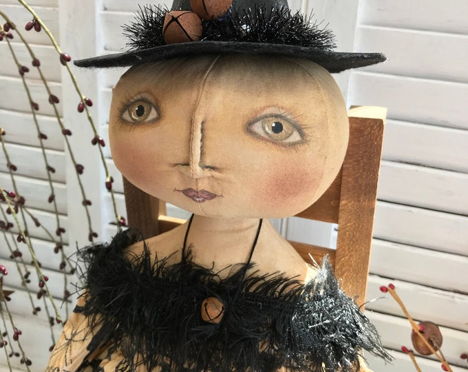 Primitive Halloween Doll, Primitive Witch, Folk Art Witch Doll, Halloween Witch, Primitive Folk Art Witch, Halloween Decor, Primitive Decor