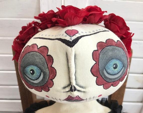 Primitive Day of the Dead, Sugar Skull Doll,Primitive Folk Art Doll, Folk Art Doll, Art Doll, Day of the Dead, Primitive Home Decor