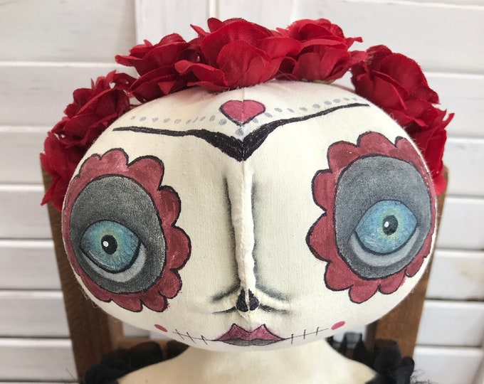 Primitive Halloween Doll, Sugar Skull Doll, Halloween Doll, Primitive Doll, Folk Art Doll, Art Doll, Day of the Dead, Primitive Home Decor