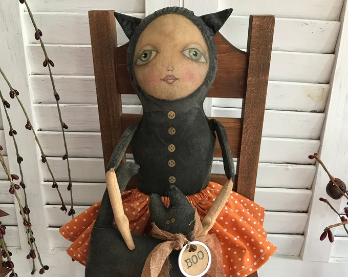 Primitive Halloween Cat Doll with Black Cat, Primitive Doll, Halloween Doll, Primitive Cat, Primitive Halloween Doll, Art Doll, Home Decor