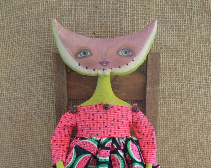 Primitive Folk Art Watermelon Doll Pattern, Primitive Folk Art Doll, Primitive Watermelon Doll, Primitive Doll, Primitive Home Decor