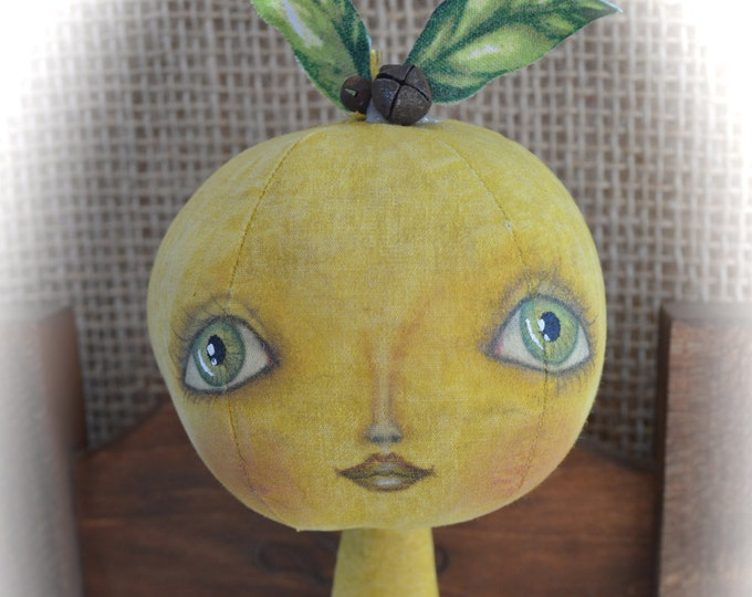 Primitive Folk Art Lemon Doll Pattern, Primitive Folk Art Doll, Primitive Lemon Doll, Primitive Doll, Primitive Home Decor, ePattern, Fruit