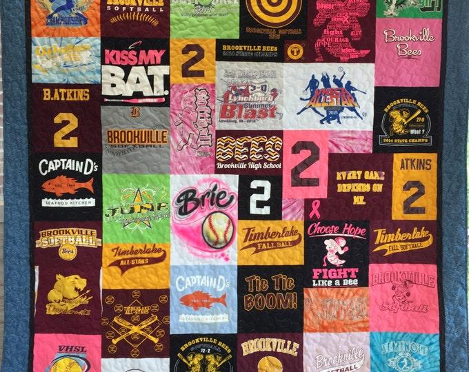Custom Personalized T-Shirt Quilt, Keepsake Quilt, Memory Quilt, T-Shirt Quilt, Handmade Quilt, Quilt, Graduation Quilt, Wedding Quilt