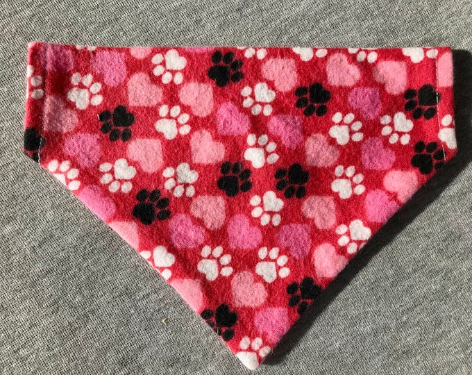 Pink Flannel Dog Bandana, Slide on Collar Bandana, Pet Accessory, Pink Flannel with Hearts and Paws