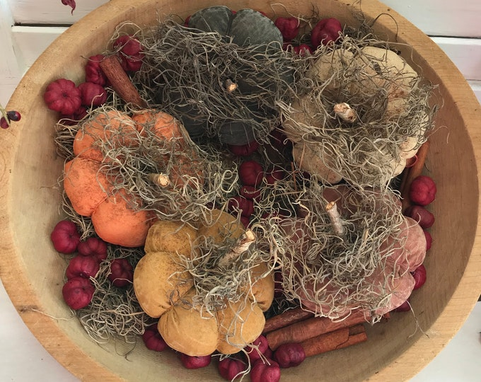 Grungy Primitive Pumpkin Bowl Fillers, Primitive Pumpkins, Grungy Pumpkins, Primitive Home Decor, Fall Decor, Pumpkin, Primitive Bowl Filler