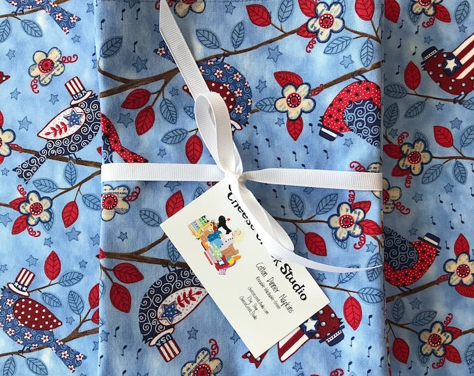 Red White & Blue Cloth Patriotic Napkins, Reusable Cloth Napkins, Picnic Napkins, 4th of July Napkins, Cotton Napkins, Table Linens, Napkins