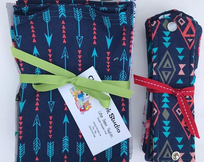Large Cloth Cotton Napkins, Reusable Cloth Napkins, Set of Ten Cotton Napkins, Southwestern Design