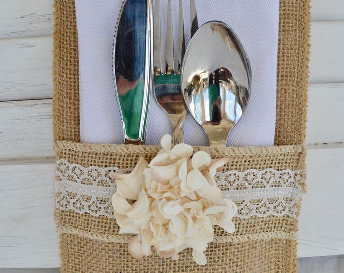 Set of 8 Rustic Country Burlap Silverware Flatware Cutlery Holders Burlap Wedding Flatware Holders Rustic Country Wedding Table Decor