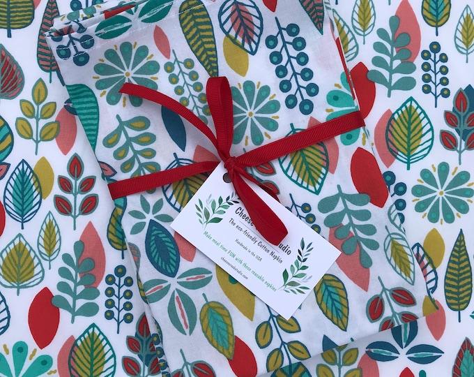 Large Cotton Napkins, Reusable Cotton Napkins, Set of Six Cotton Napkins, Botanical Print Napkins, 18 X 18 Cloth Napkins, Table Linens