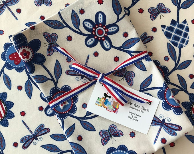 Red White and Blue Cloth Patriotic Napkins, Reusable Napkins, Cotton Napkins, Picnic Napkins, 4th of July Napkins, Table Linens, Napkins