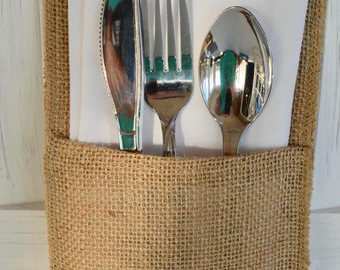 Rustic Country Burlap Silverware Flatware Cutlery Holders Burlap Wedding Flatware Holders Rustic Country Wedding Table Decor