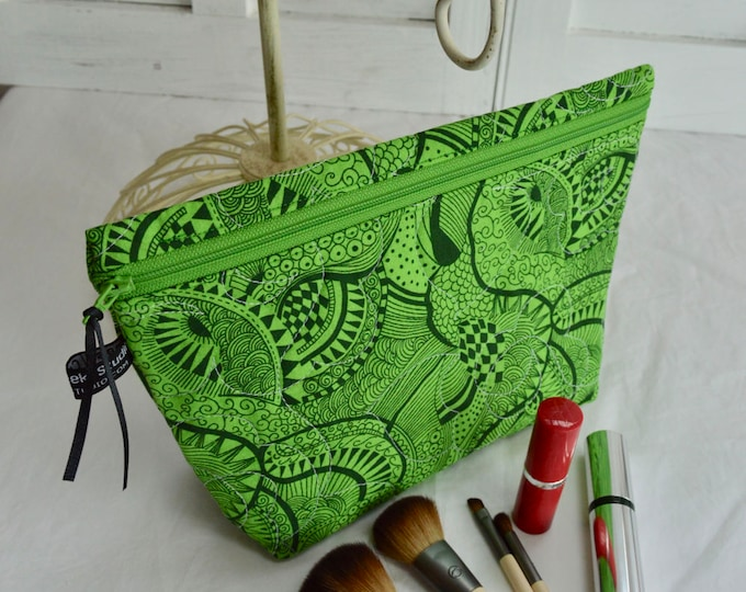 Quilted Cosmetic Bag - Quilted Zippered Bag - Cosmetic Clutch