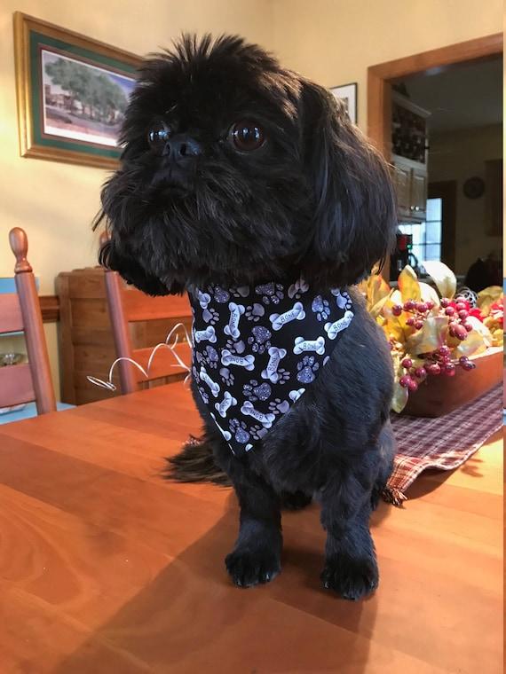Bones Dog Bandana, Slide on Collar Bandana, Pet Accessory, Black and Gray Bones and Paws