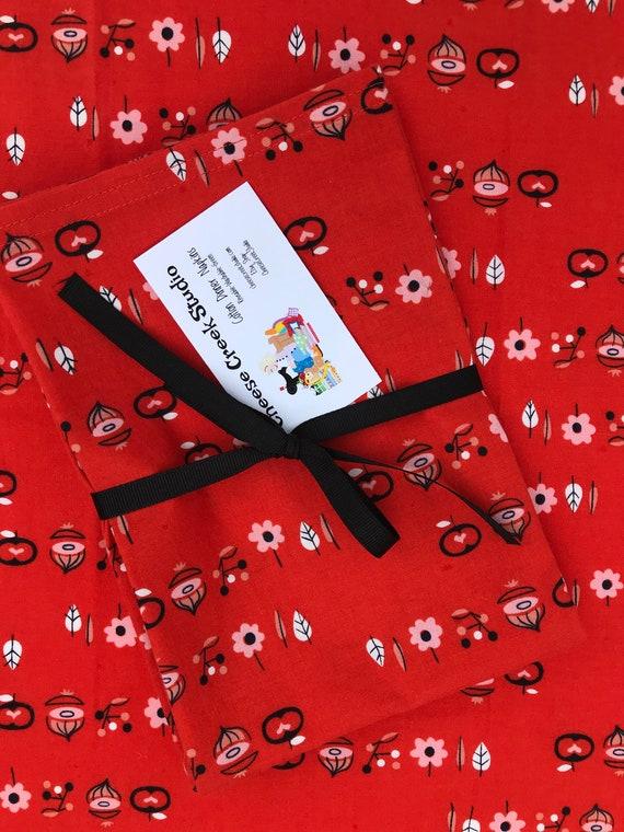 Large Cotton Napkins, Reusable Cotton Napkins, Set of Four Cotton Napkins, Retro Print Cotton Napkins, 18 X 18 Cloth Cotton Napkins