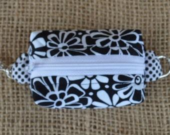 Tiny Zippered Pouch - Key Ring Fob - Handmade