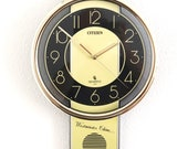 CITIZEN Wall Clock Q43100 016 SLIMLINE Volume Control WESTMINSTER Chime Rare Clock . Offered with a One Years Guarantee