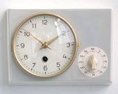 SCHATZ Wall Clock PLUS Timer Kitchen Vintage Germany Ceramic Glass Mid Century. Offered With a One Years Guarantee