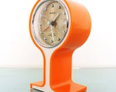 SAMSUNG Royal Alarm Clock Mantel Rare Vintage ORANGE Pedestal Space Age With ORIGINAL Box Offered with a One Years Guarantee